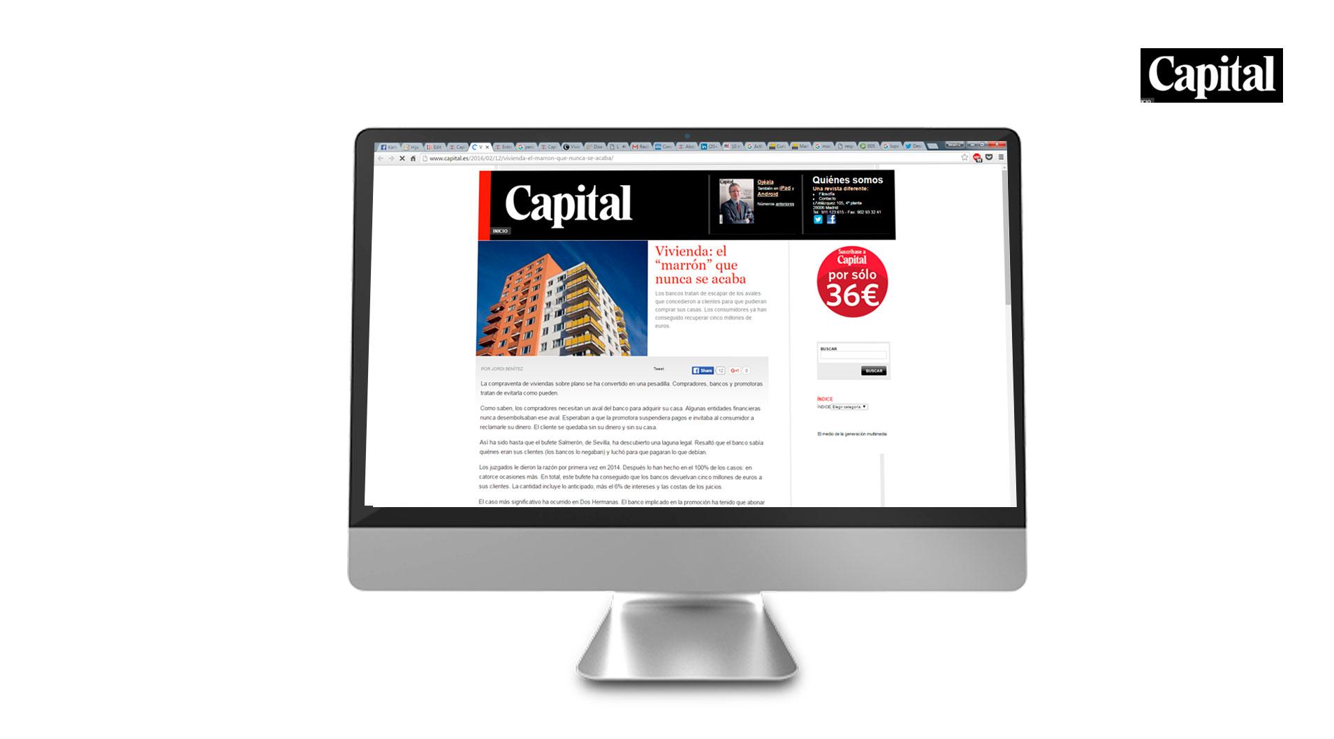 Capital.es informa de nuestro éxito en la reclamación de cantidades de viviendas sobre plano que nunca se entregaron