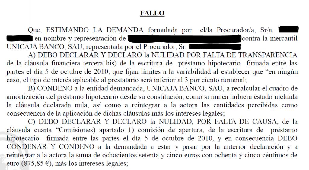 Clausula suelo 38 good modelo reclamacion clausula suelo for Que bancos aplican la clausula suelo